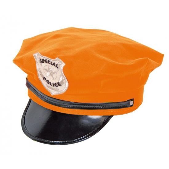 Oranje politie pet met zwarte klep