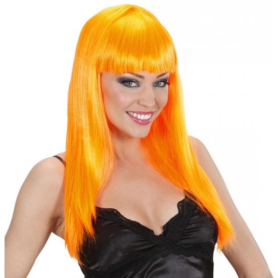 Oranje pruik met rechte pony