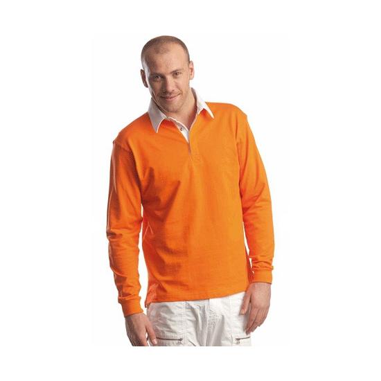 Oranje rugbyshirt met witte kraag