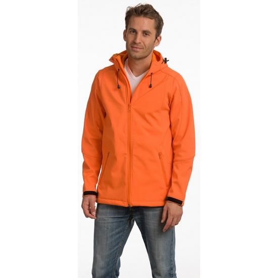 Oranje softshell jas met capuchon voor heren