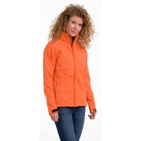 Oranje softshell jas voor dames
