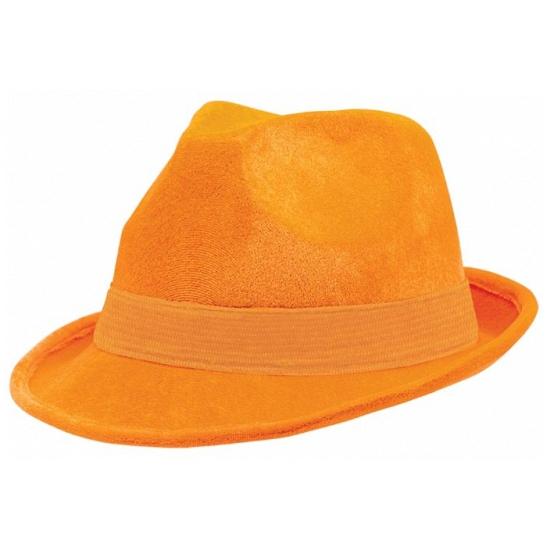 Oranje suede feesthoed