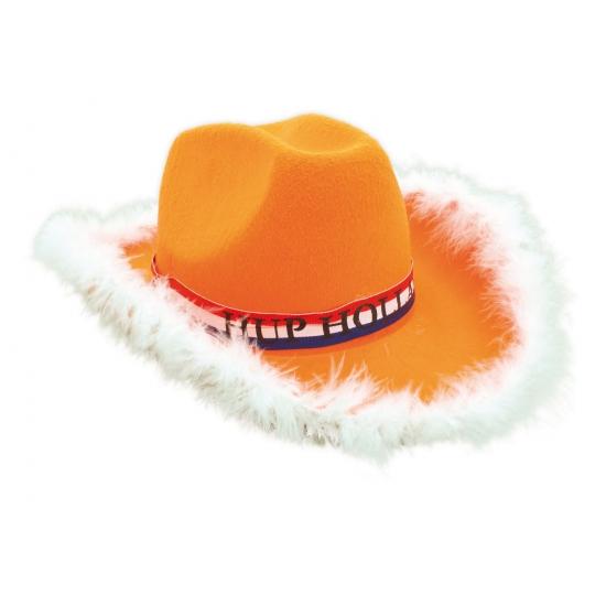 Oranje supporters hoed met bontrand