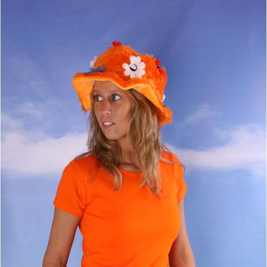 Oranje supporters hoeden met bloemen