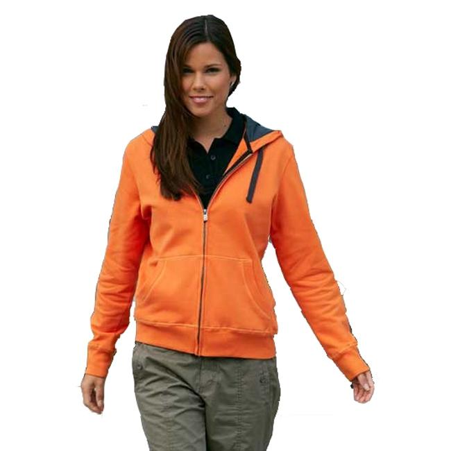 Oranje sweatvest met capucho voor dames
