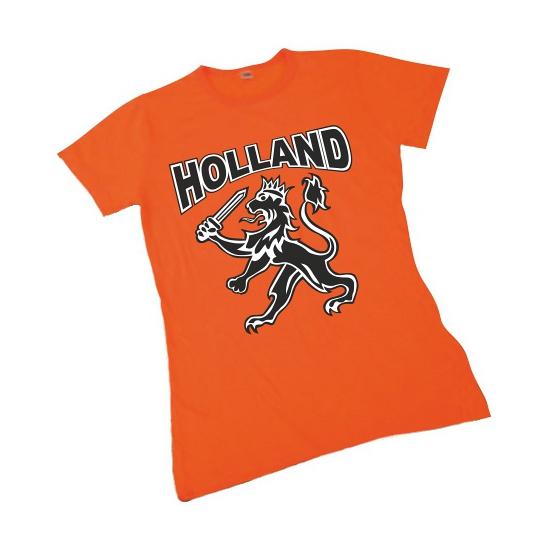 Oranje t shirt met Hollandse leeuw voor dames