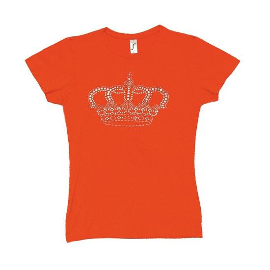 Oranje t shirt met kroontje voor dames