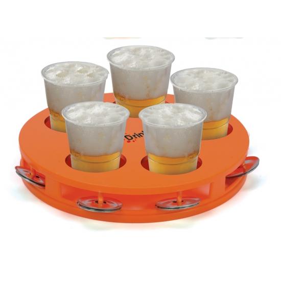 Oranje tamboerijn en bier dienblad vijf glazen