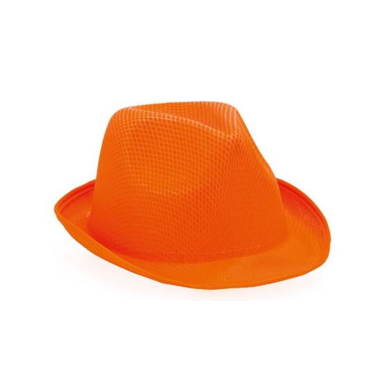 Oranje trilby feesthoedje