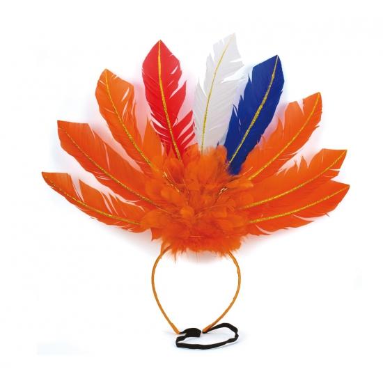 Oranje veren hoofdband Holland