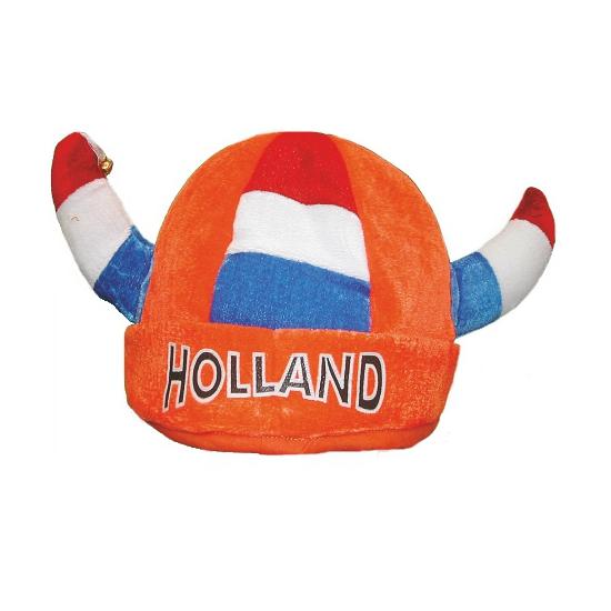 Oranje viking muts pluche met bellen