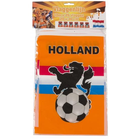 Oranje vlaggenlijn met voetbal 10 meter