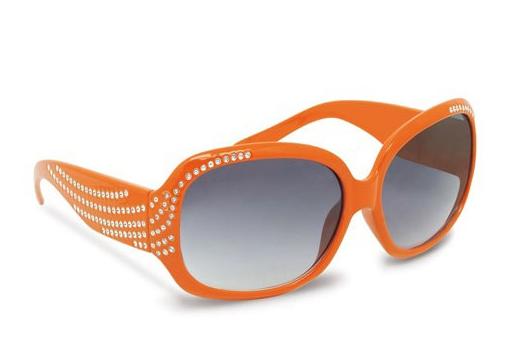 Oranje zonnebril met diamantjes