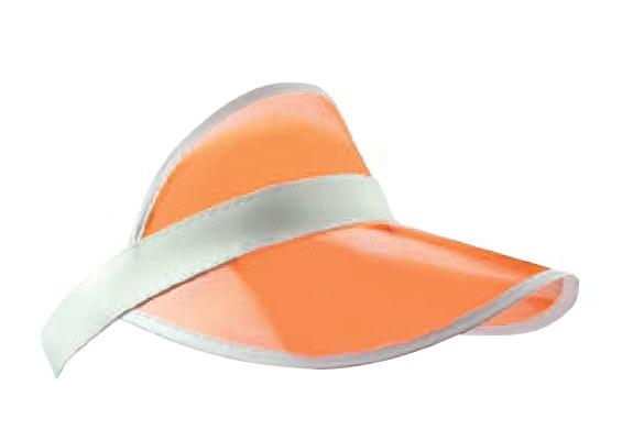 Oranje zonneklep met witte randen