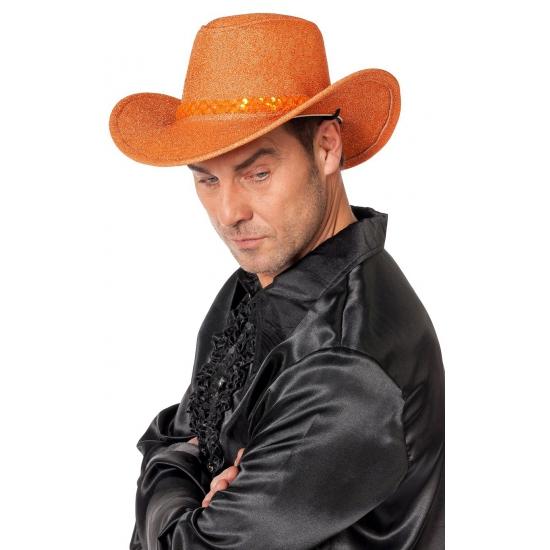 Pailletten cowboyhoed oranje