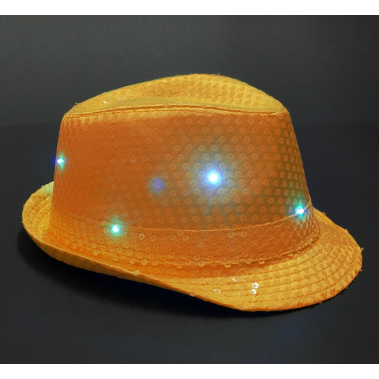 Pailletten trilby hoed oranje LED light