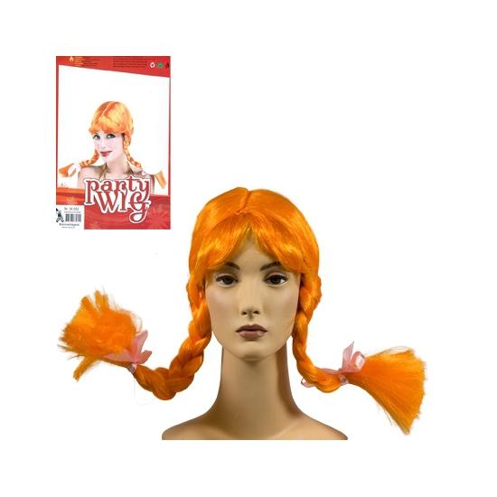 Pippi pruik oranje met vlechten voor volwassenen