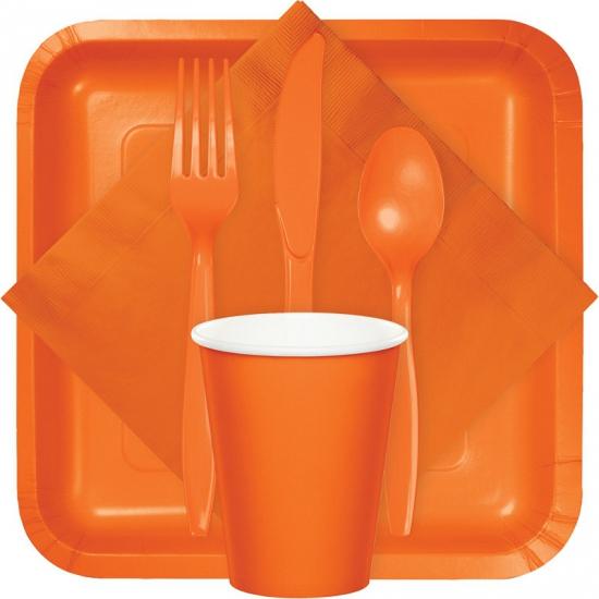 Plastic servies bestek oranje