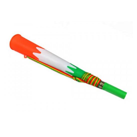 Plastic toeter groen met wit en oranje