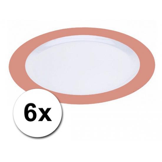 Platte oranje borden onbreekbaar 6 stuks