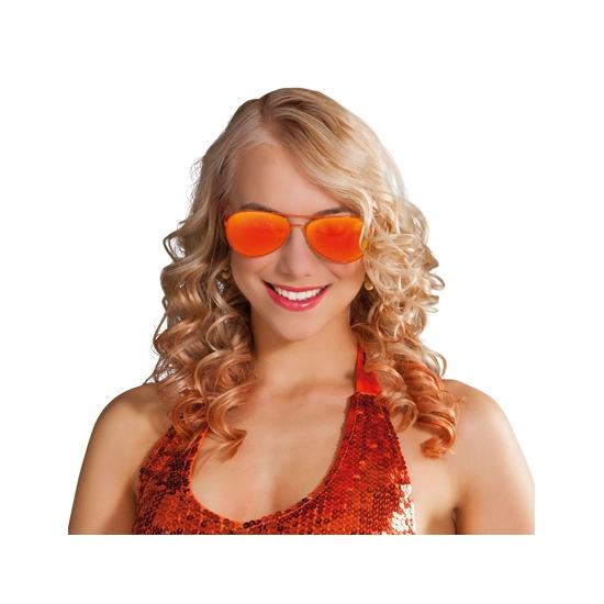 Politie zonnebril oranje spiegelglazen