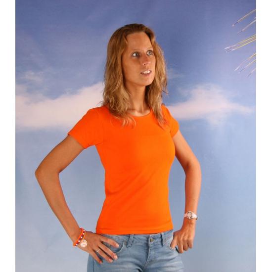 Ronde hals t shirt dames oranje