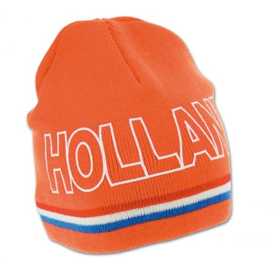 Schaatssupporter oranje Holland muts