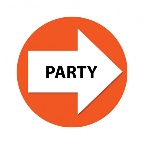 Set met oranje pijl en party stickers