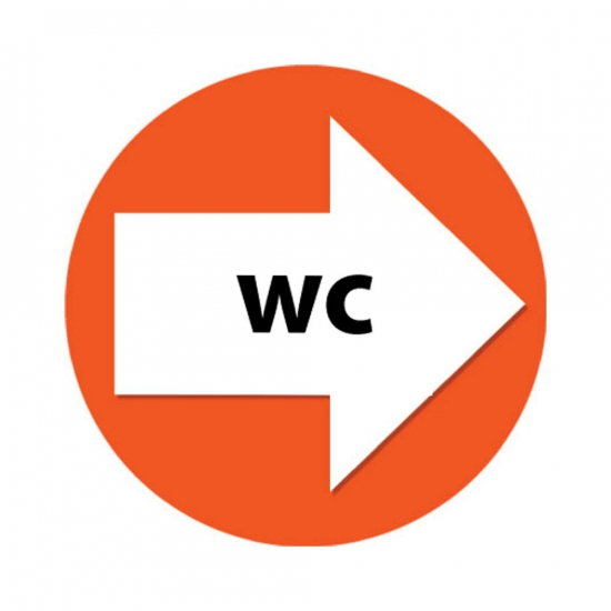 Set met oranje pijl en WC stickers