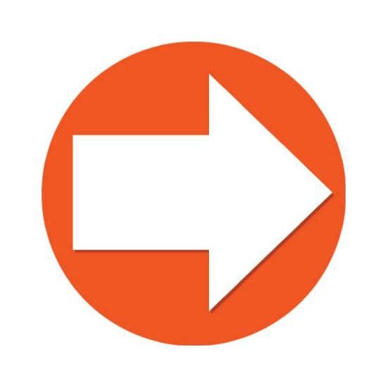 Sticker pijl oranje met wit