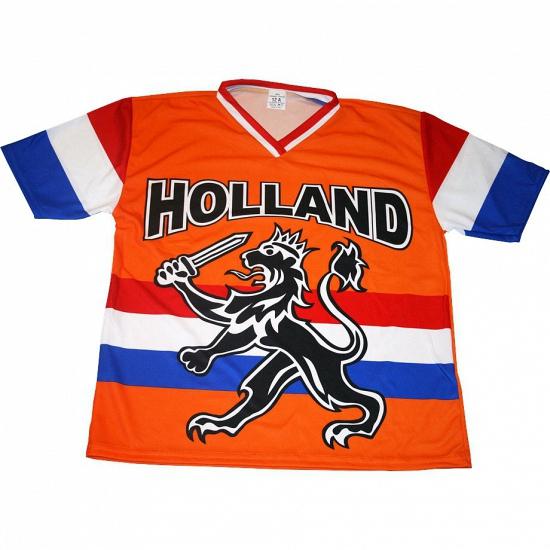 T shirt Holland met zwarte leeuw en vlag
