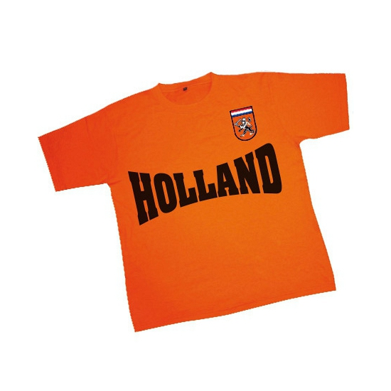 T shirt oranje met badge leeuw