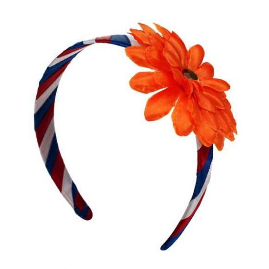 Toppers Holland diadeem met oranje bloem
