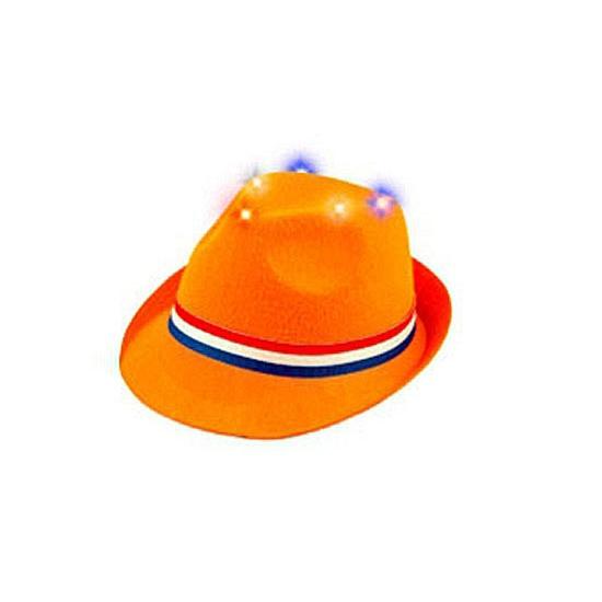 Trilby hoedje oranje met lichtjes