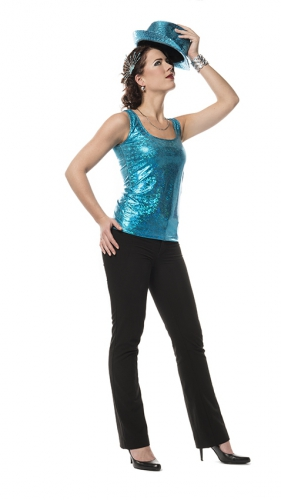 Turquoise holografische top voor dames
