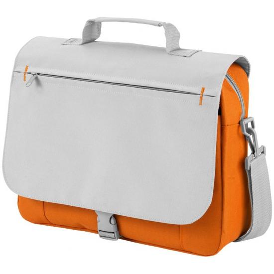Verstelbare schoudertas grijs/oranje