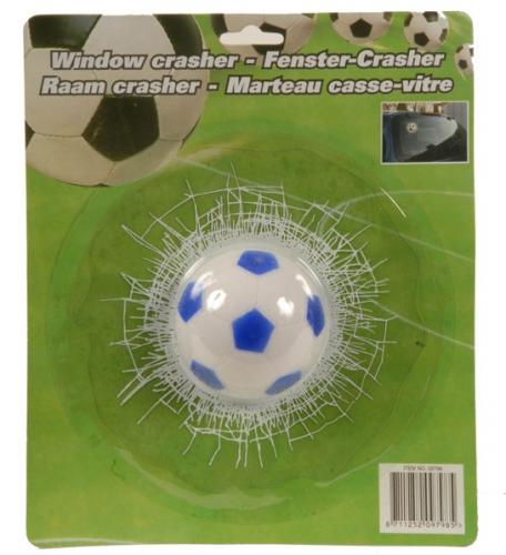 Voetbal door ruit raamsticker