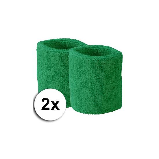 Voordelige zweetbandjes groen 2 stuks