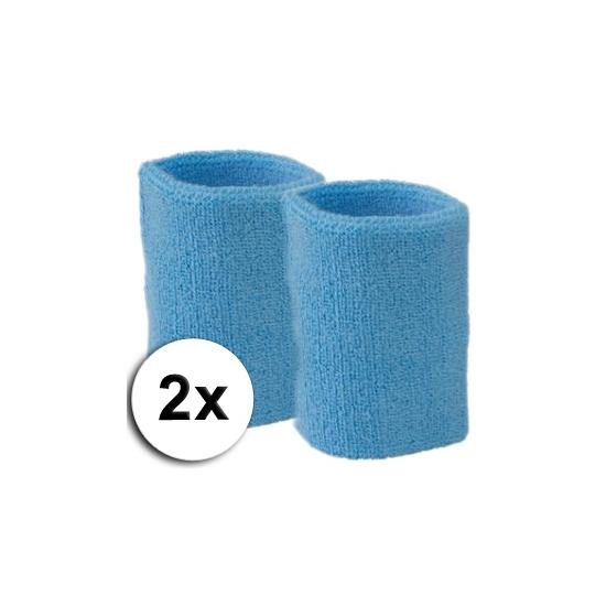 Voordelige zweetbandjes lichtblauw 2 stuks