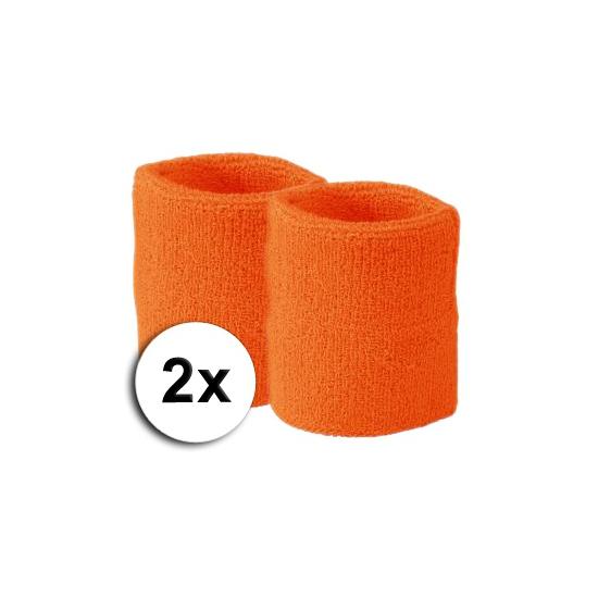 Voordelige zweetbandjes oranje 2 stuks