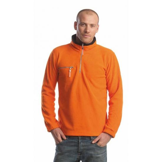 Warme oranje met zwart gekleurde fleece trui