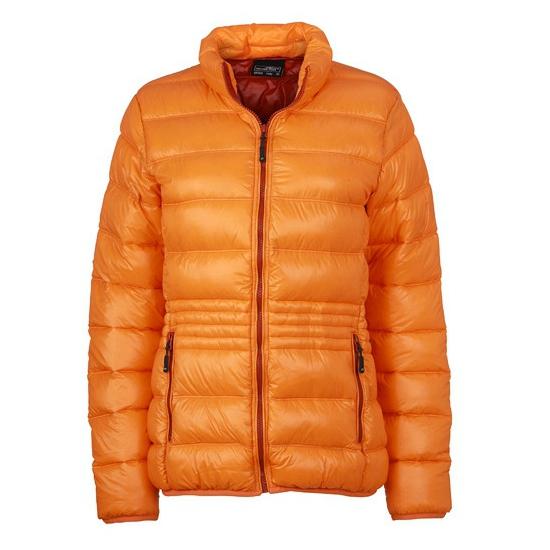 Winterjas oranje met dons voor dames