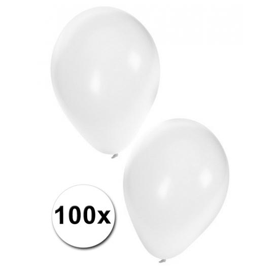 Witte feest ballonnen, 100 stuks
