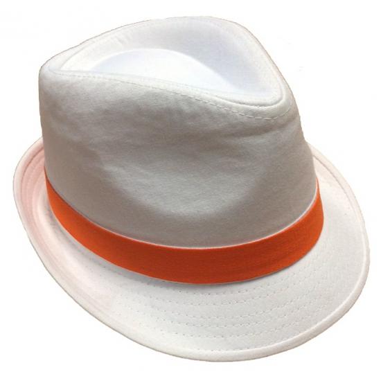 Witte hoed voor volwassenen met oranje bies