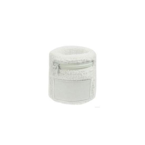 Witte zweetband met ritsje