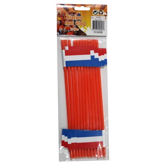 WK rietjes oranje met Nederland vlag 12 stuks