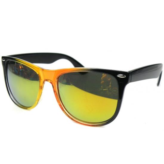 Zwart met oranje spiegel zonnebril