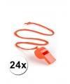 24 oranje fluitjes aan koord