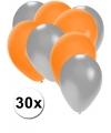 30x ballonnen zilver en oranje