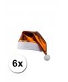 6 oranje glimmende kerstmutsen
